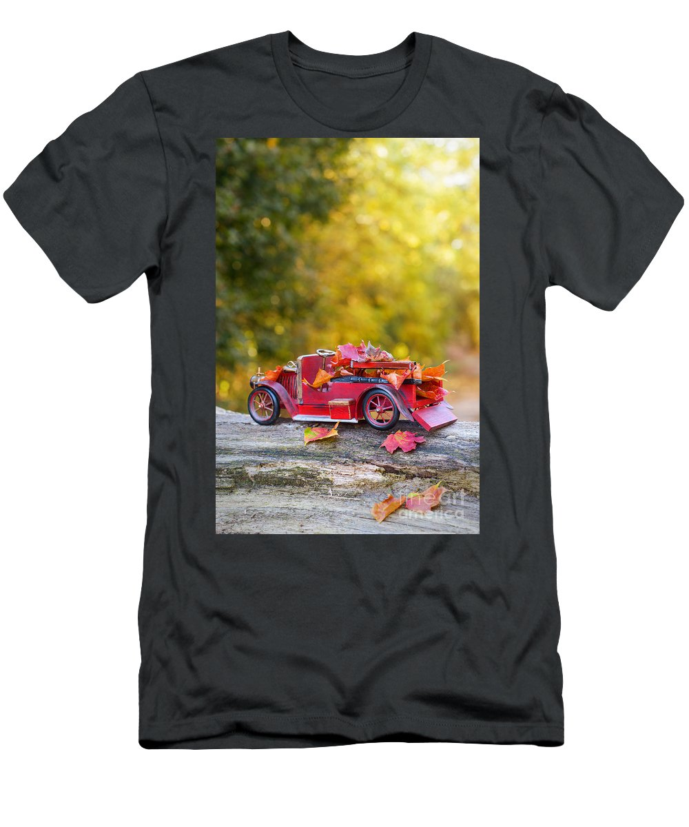 Vintage Men's T-Shirt (Athletic Fit) featuring the photograph Vintage Car With Autumn Leaves by Amanda Elwell