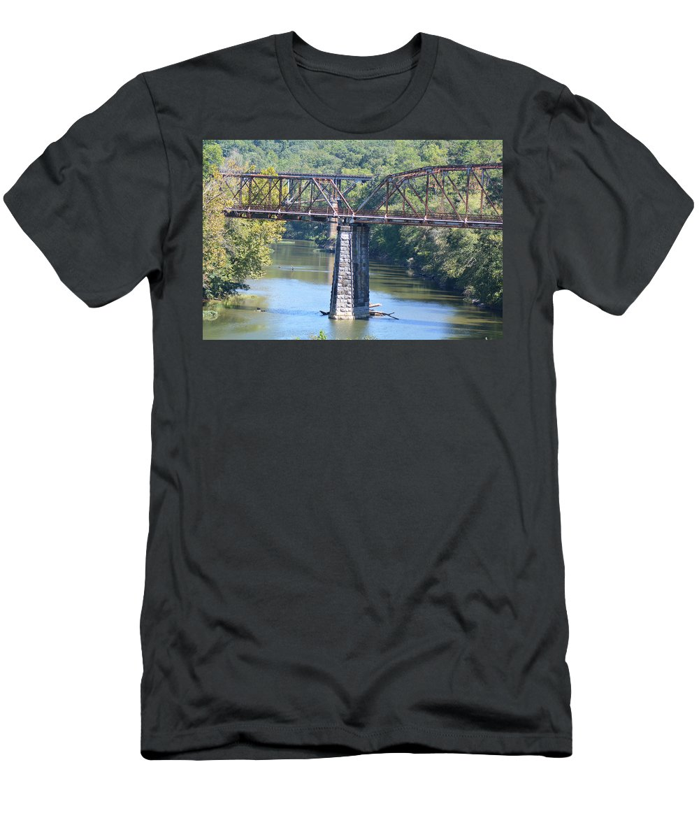Bridges Photographs Men's T-Shirt (Athletic Fit) featuring the photograph Vintage Garden City Bridge by Barb Dalton
