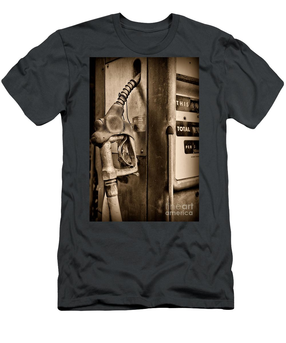 Paul Ward Men's T-Shirt (Athletic Fit) featuring the photograph Vintage Gas Pump Showing Its Age by Paul Ward