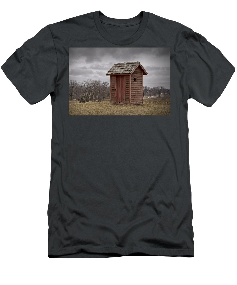Art Men's T-Shirt (Athletic Fit) featuring the photograph Vintage Outhouse Behind A Historical Country School In Southwest Michigan by Randall Nyhof