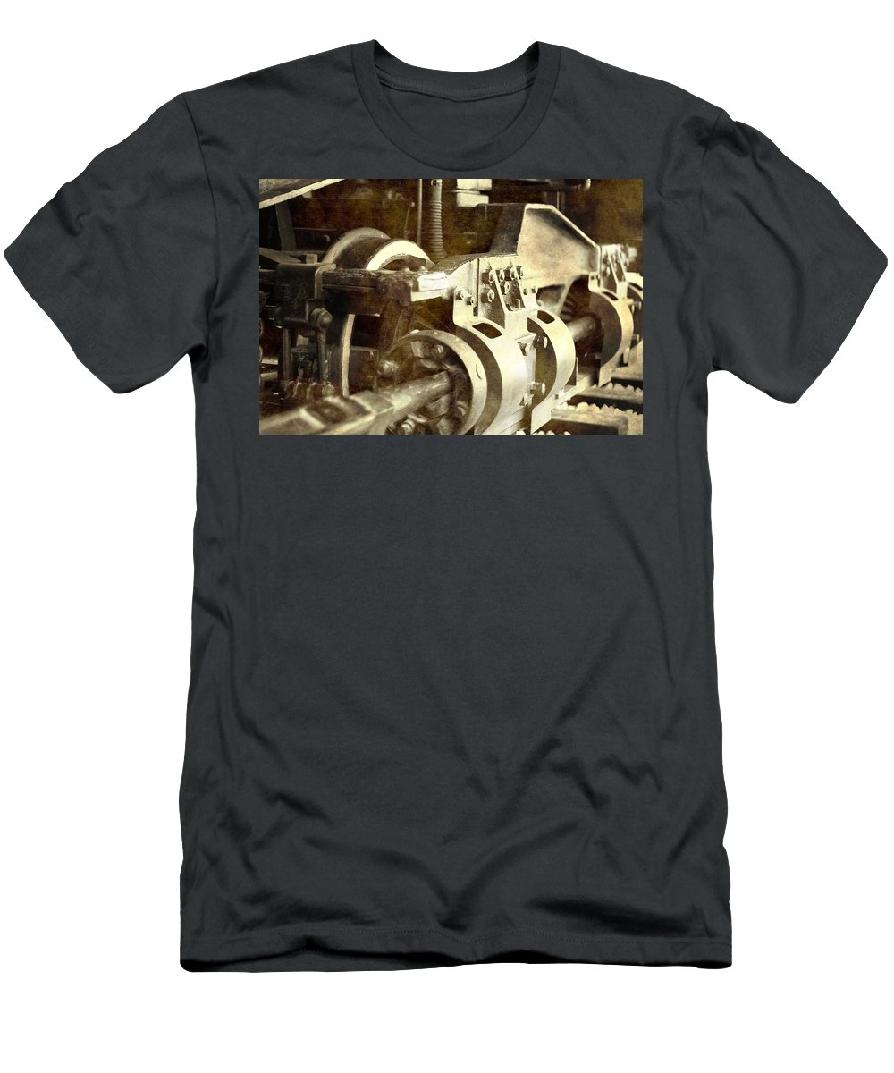 Vintage Train Wheel Men's T-Shirt (Athletic Fit) featuring the photograph Vintage Train Wheel by Dan Sproul