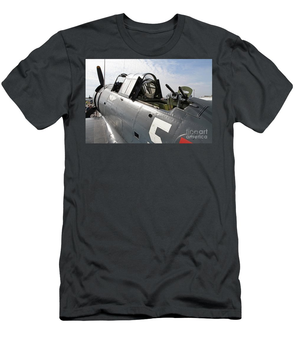 Bomber Men's T-Shirt (Athletic Fit) featuring the photograph Vintage World War II Dive Bomber by Kevin McCarthy