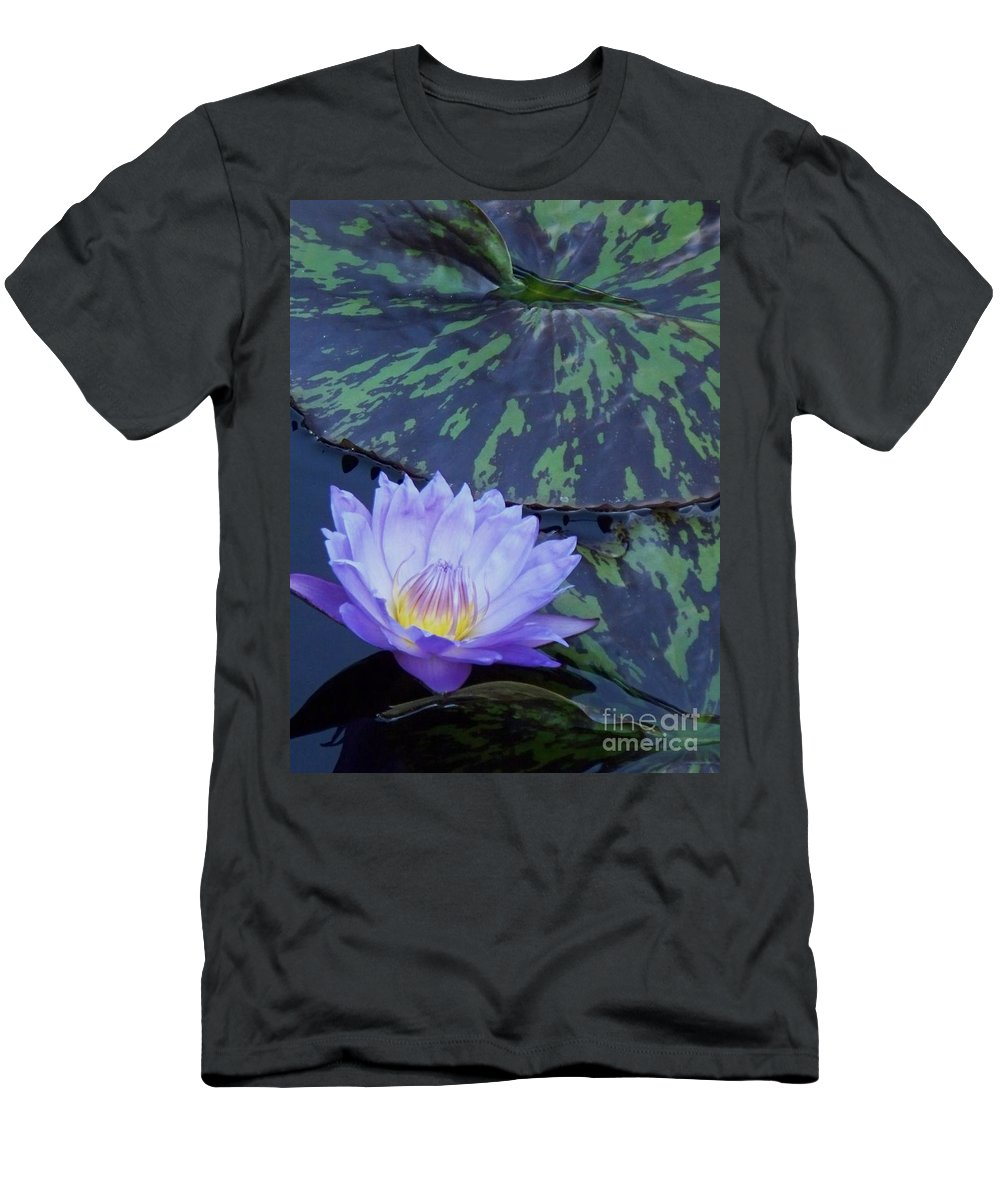 Water Lilies Men's T-Shirt (Athletic Fit) featuring the photograph Violet Lily by Eric Schiabor