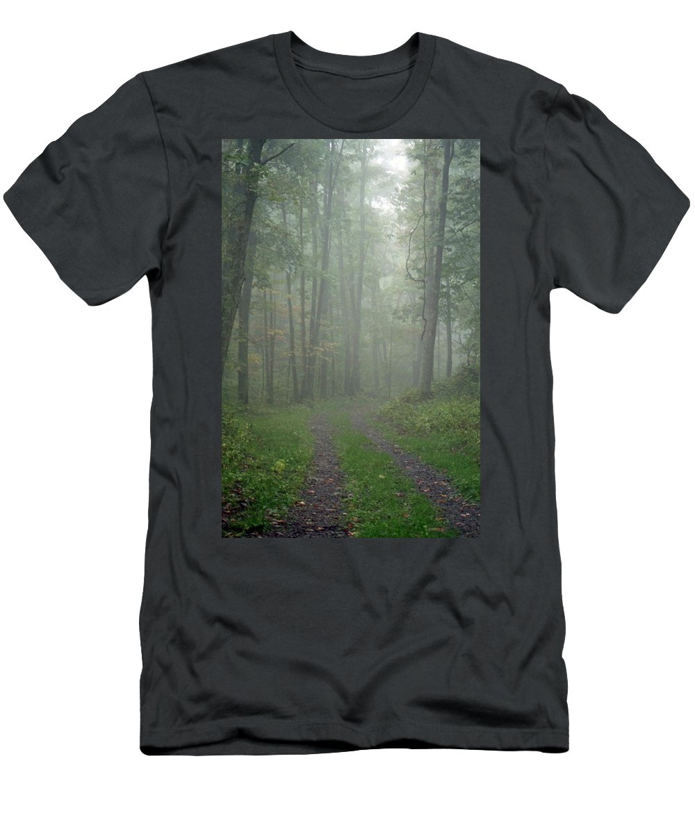 Shenandoah National Park Men's T-Shirt (Athletic Fit) featuring the photograph Virginia - Shenandoah National Park - Road Not Taken by Pamela Critchlow