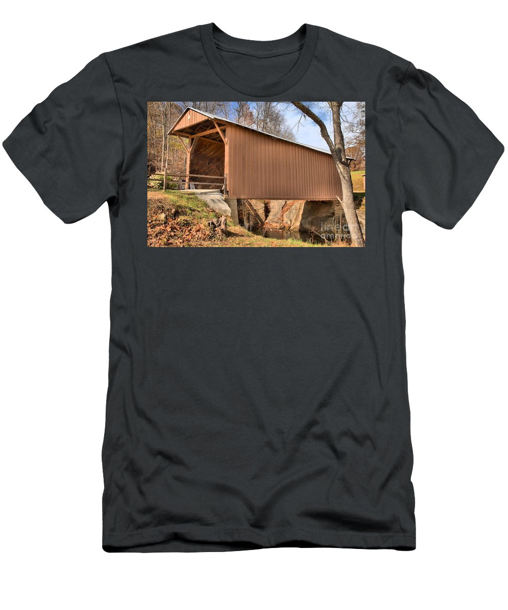 Smith River Men's T-Shirt (Athletic Fit) featuring the photograph Virginia Upper Covered Bridge by Adam Jewell