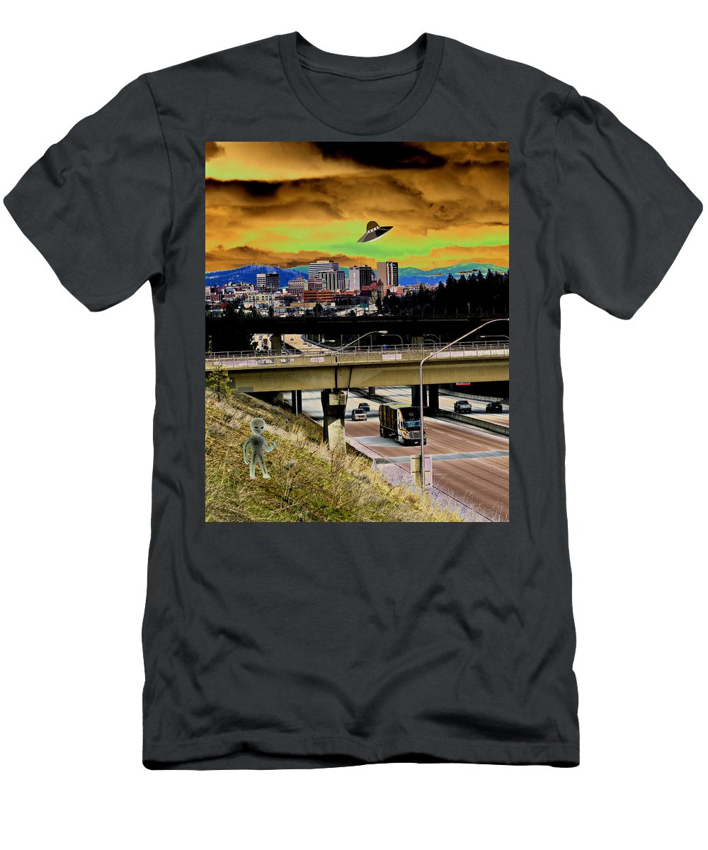 Aliens Men's T-Shirt (Athletic Fit) featuring the photograph Visiting Spokane by Ben Upham III