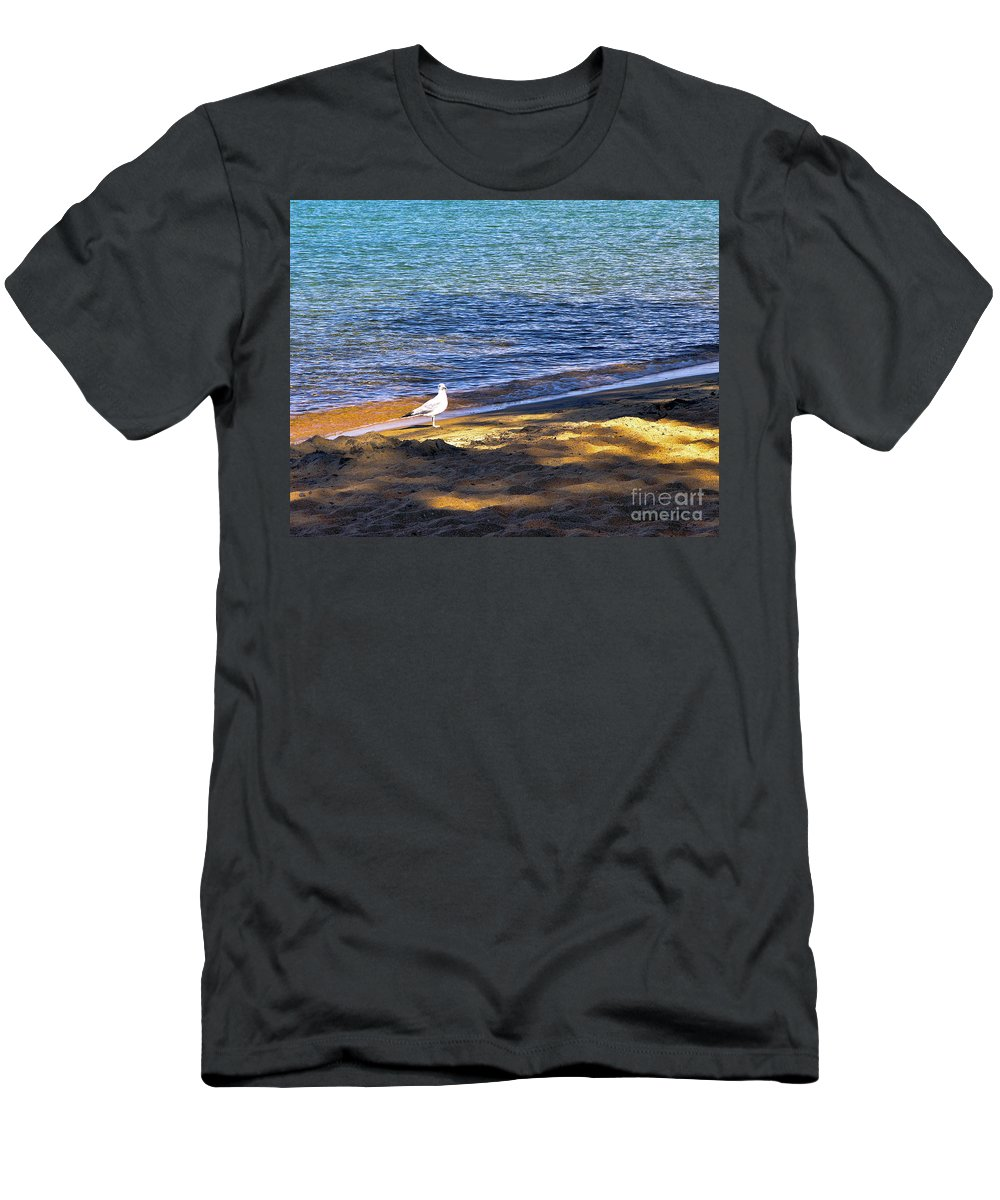 Seagull Men's T-Shirt (Athletic Fit) featuring the photograph Visitor - Lake Tahoe by John Waclo