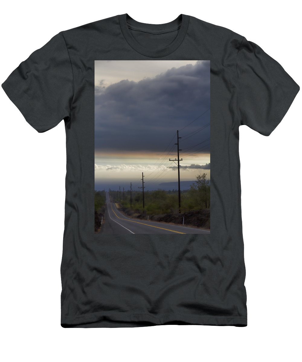 Volcano Men's T-Shirt (Athletic Fit) featuring the photograph Vog Over The Road Big Island Hawaii by Douglas Barnard
