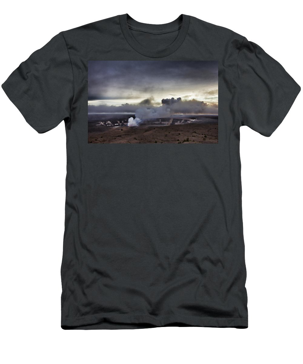 Volcano Men's T-Shirt (Athletic Fit) featuring the photograph Volcano Crater Big Island Hawaii by Douglas Barnard
