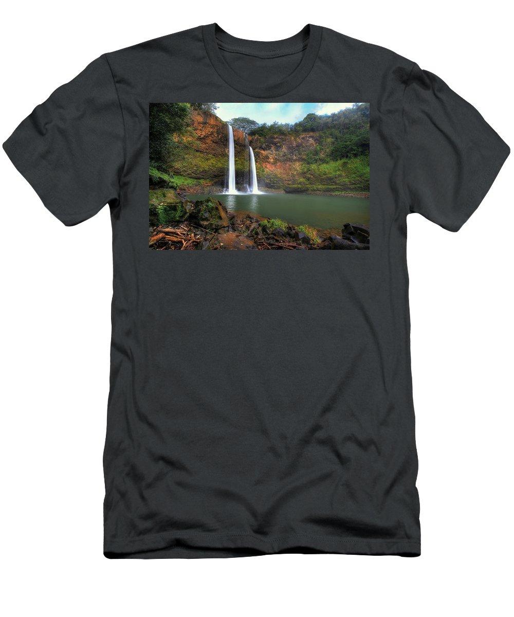 Wailua Falls Men's T-Shirt (Athletic Fit) featuring the photograph Wailua Falls by Ryan Smith