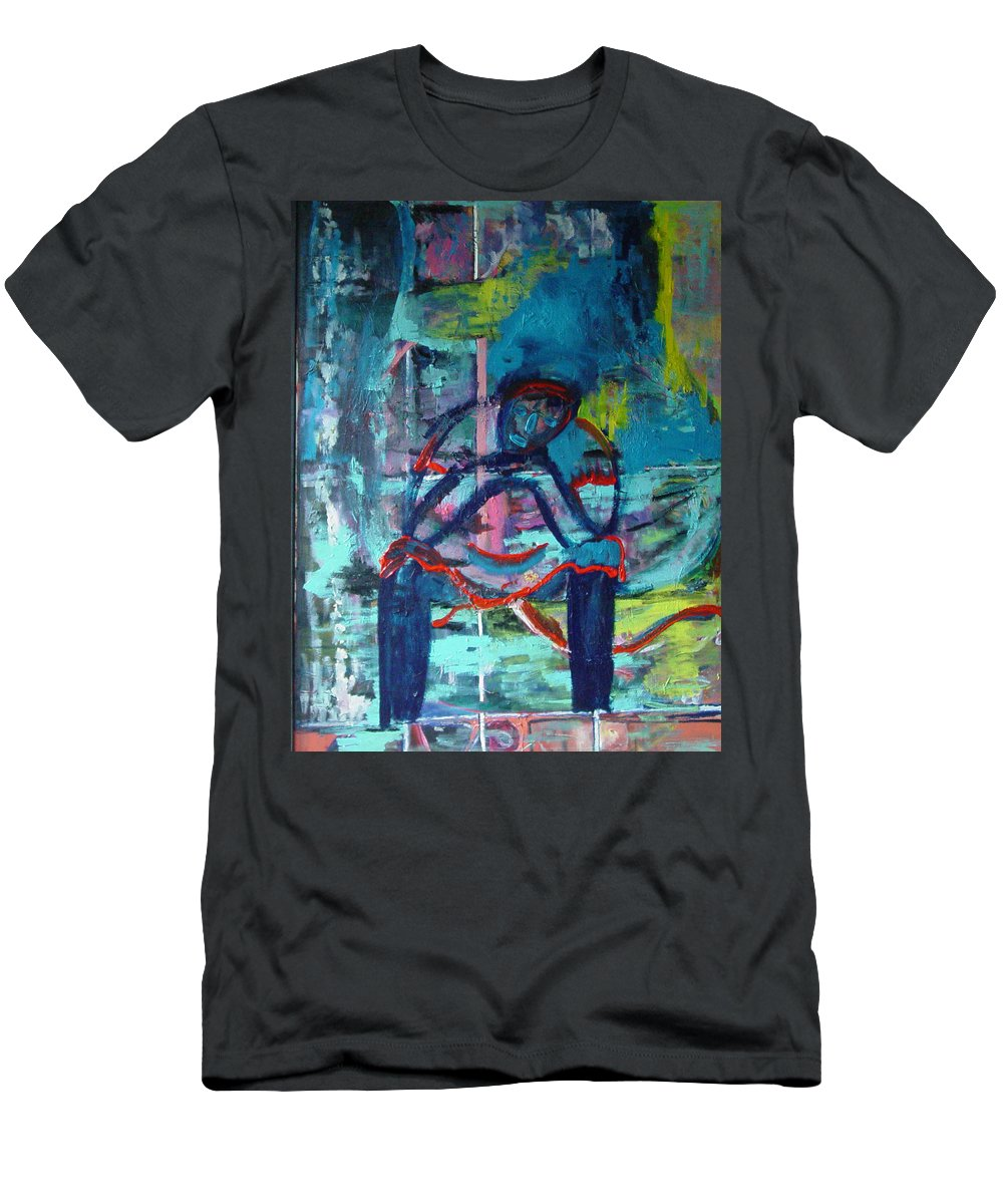 Woman On Bench Men's T-Shirt (Athletic Fit) featuring the painting Waiting by Peggy Blood
