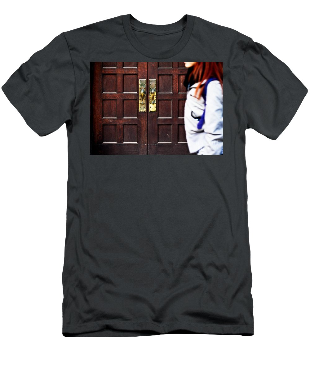 Redhead Men's T-Shirt (Athletic Fit) featuring the photograph Walk On By by Mary Smyth