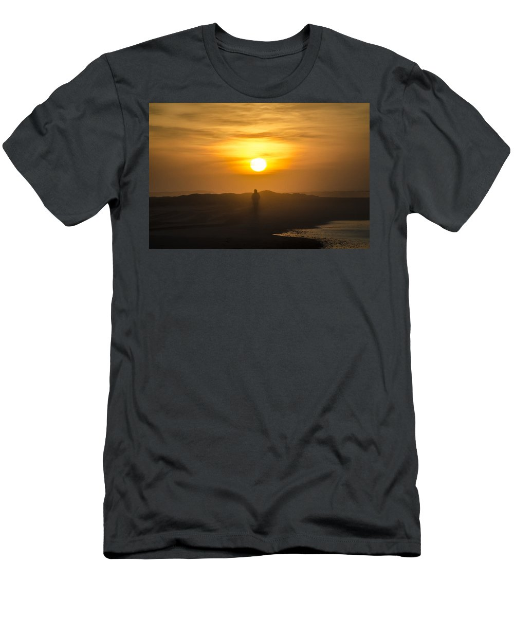 Walking Men's T-Shirt (Athletic Fit) featuring the photograph Walking In The Sunrise by Bill Cannon