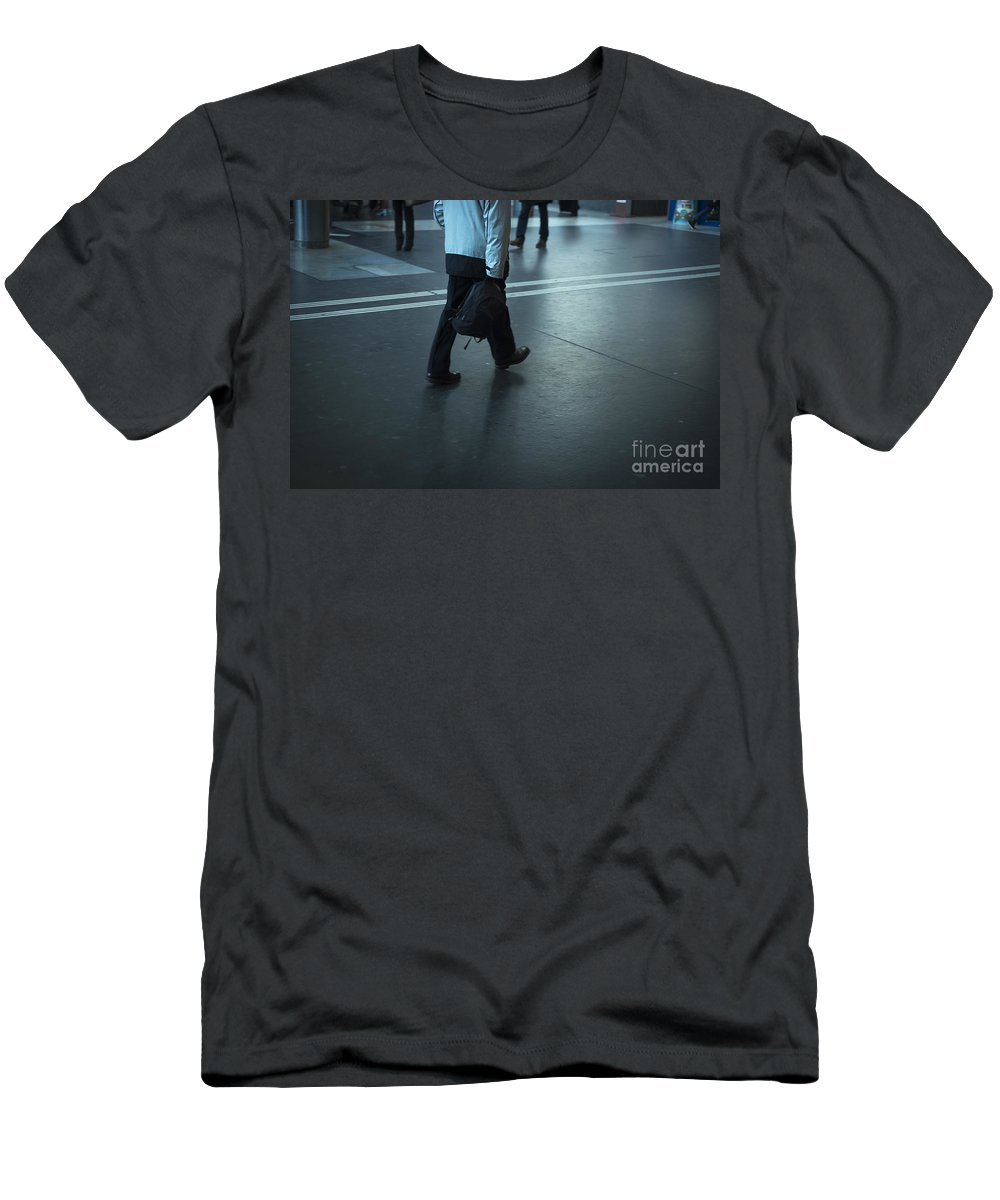 Man Men's T-Shirt (Athletic Fit) featuring the photograph Walking On A Train Station by Mats Silvan
