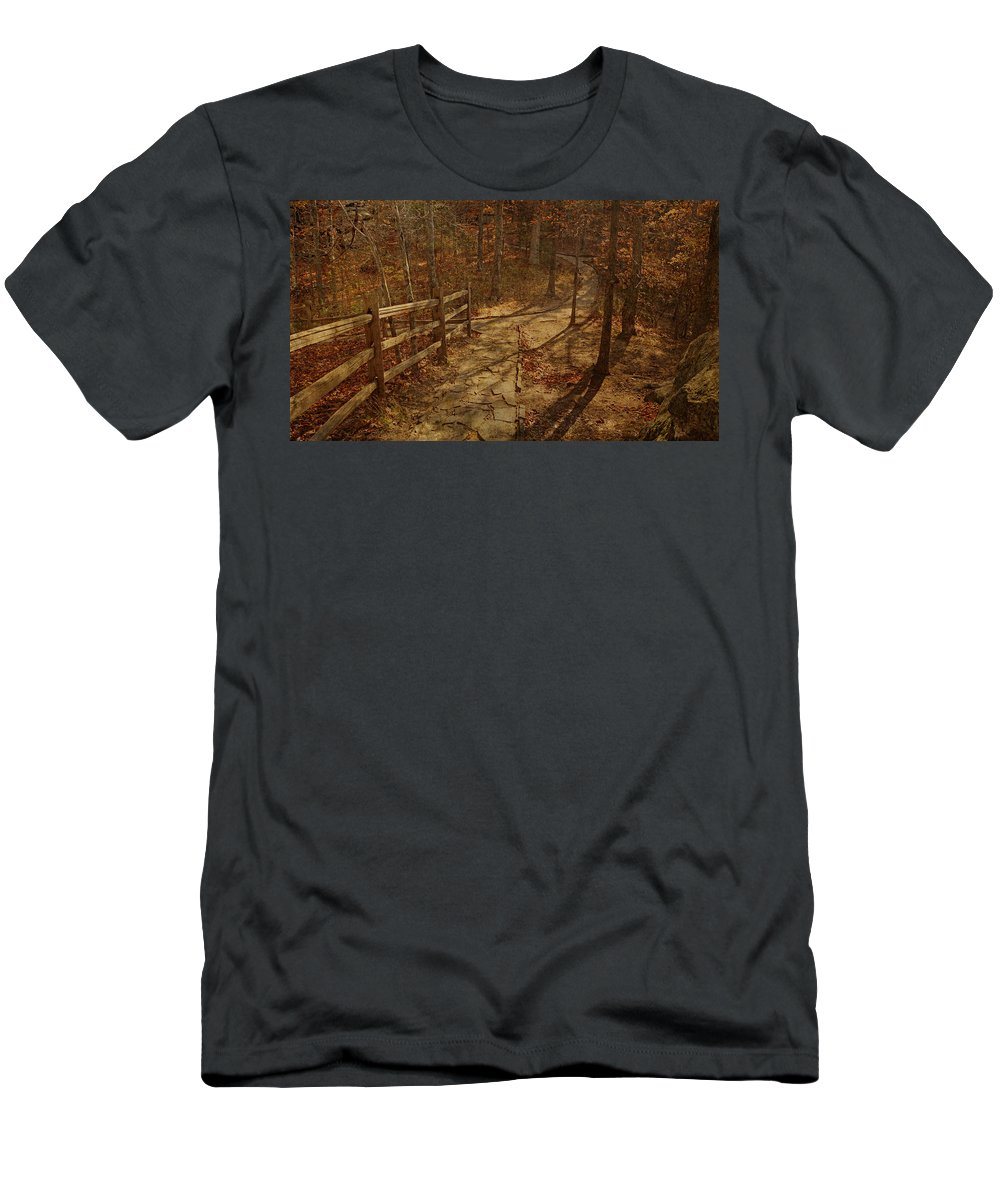 Shawnee National Forest Men's T-Shirt (Athletic Fit) featuring the photograph Walkway Through The Forest by Sandy Keeton