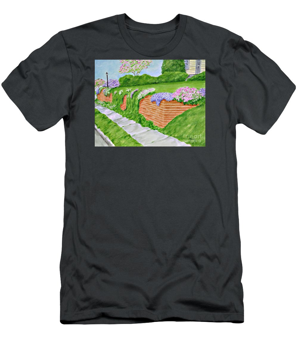 Landscape T-Shirt featuring the painting Wall Of Flowers by Regan J Smith