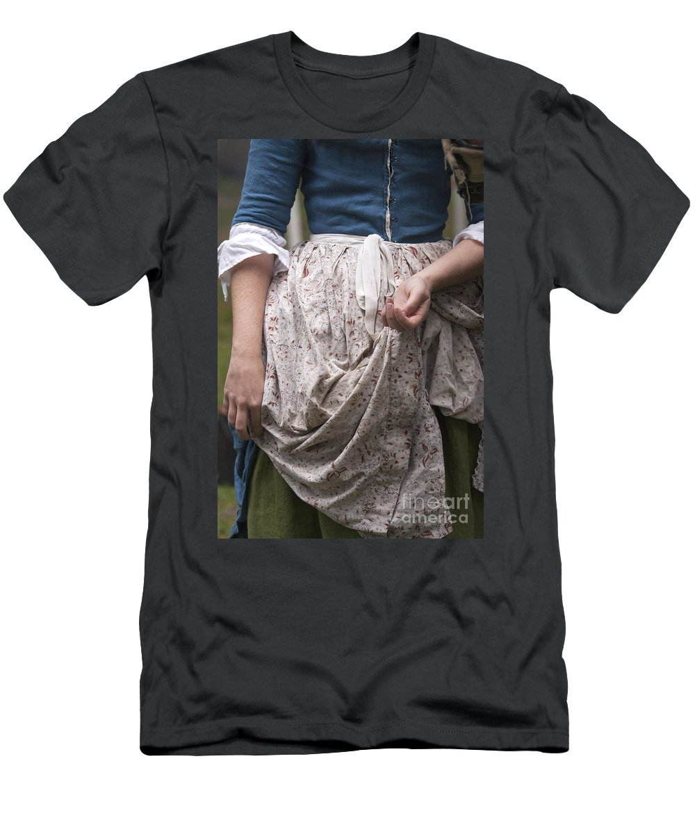 Person; Female; Woman; Lady; Apron; Dress; Caucasian; Hands; Blue; Floral Pattern; Revolutionary; Colonial; Standing; Torso; Arms; Vintage Men's T-Shirt (Athletic Fit) featuring the photograph Want by Margie Hurwich