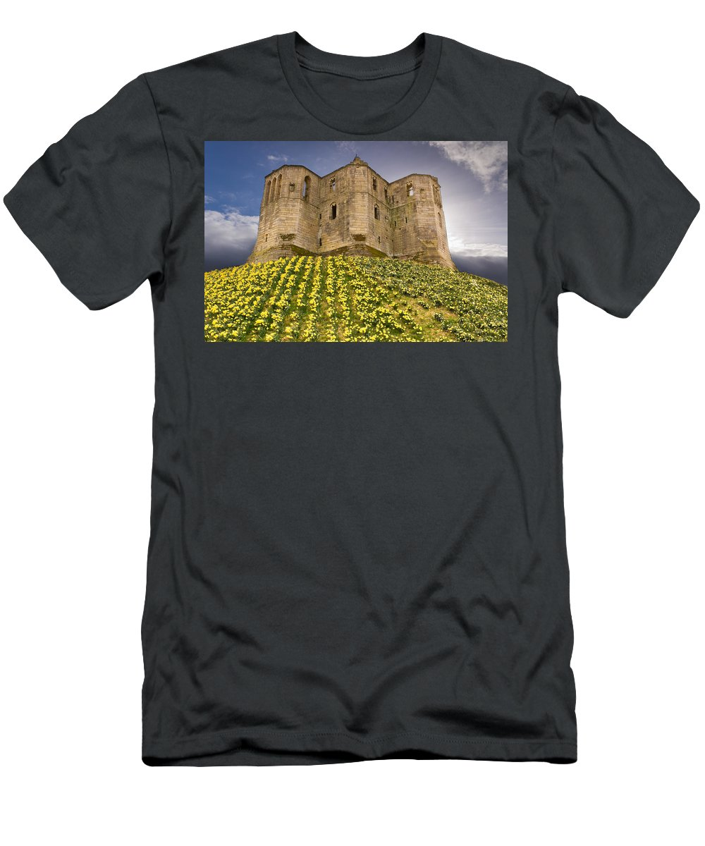 Northumberland Men's T-Shirt (Athletic Fit) featuring the photograph Warkworth Castle In The Sky by David Head