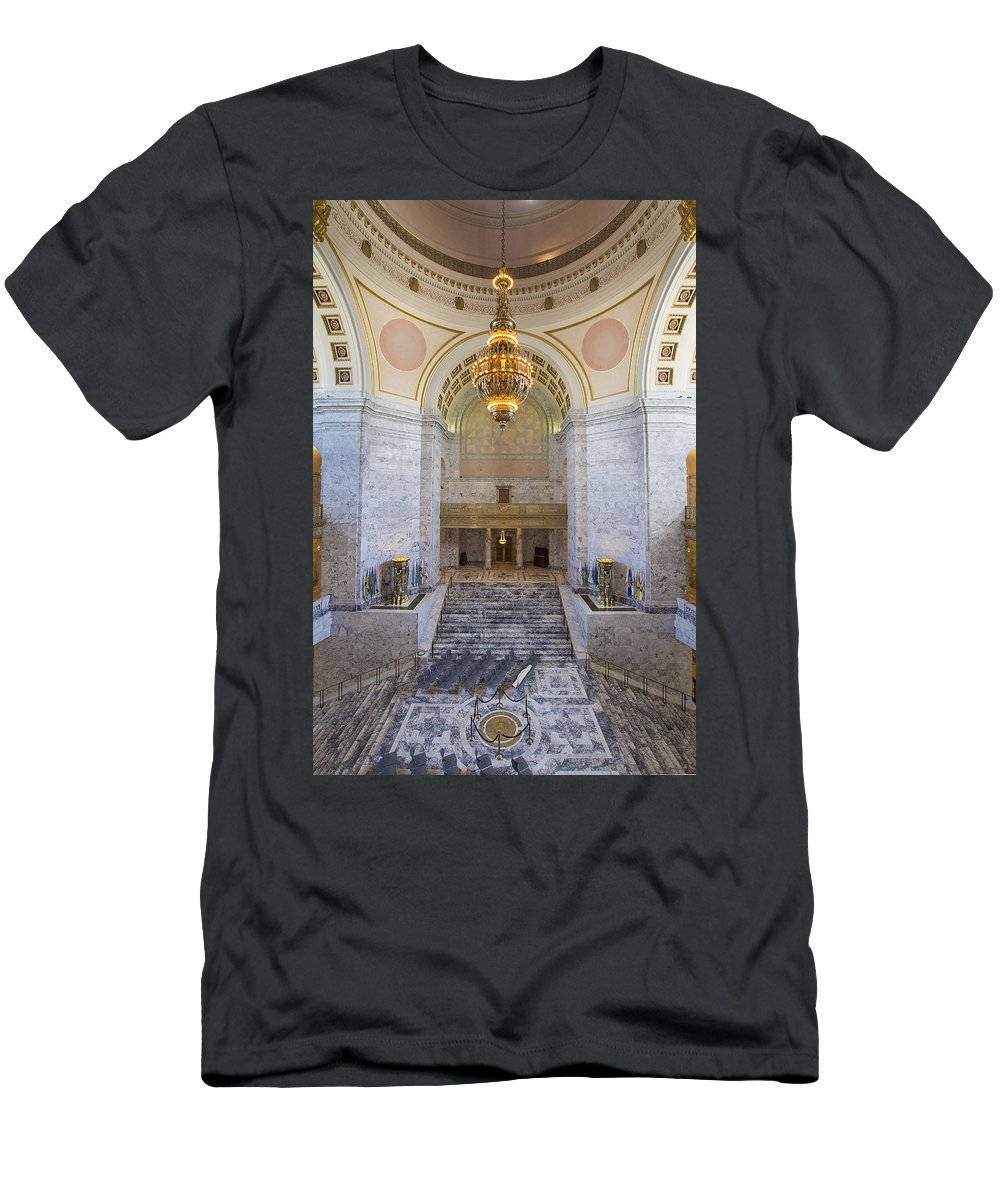 Washington Men's T-Shirt (Athletic Fit) featuring the photograph Washington State Capitol Rotunda Chandelier by Jit Lim