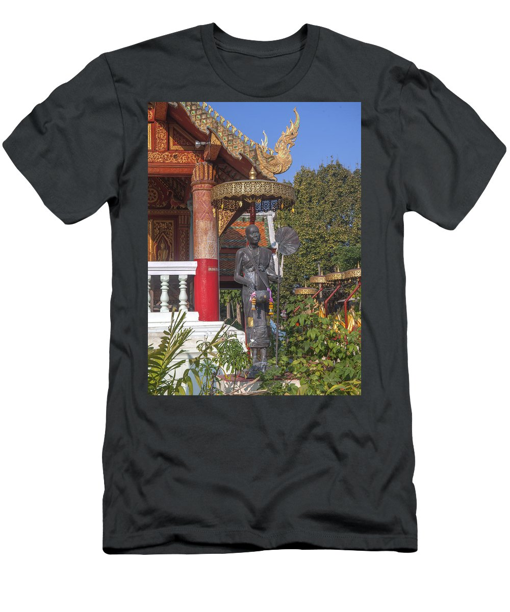 Scenic Men's T-Shirt (Athletic Fit) featuring the photograph Wat Phuak Hong Phra Wihan Monk Figure Dthcm0579 by Gerry Gantt