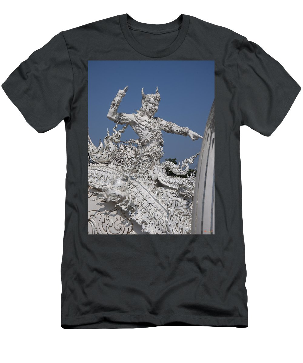 Scenic Men's T-Shirt (Athletic Fit) featuring the photograph Wat Rong Khun Ubosot Causeway Guardian Dthcr0008 by Gerry Gantt