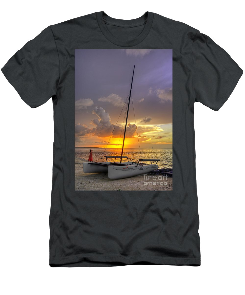 Boat Men's T-Shirt (Athletic Fit) featuring the photograph Watching Sunrise II by Bruce Bain