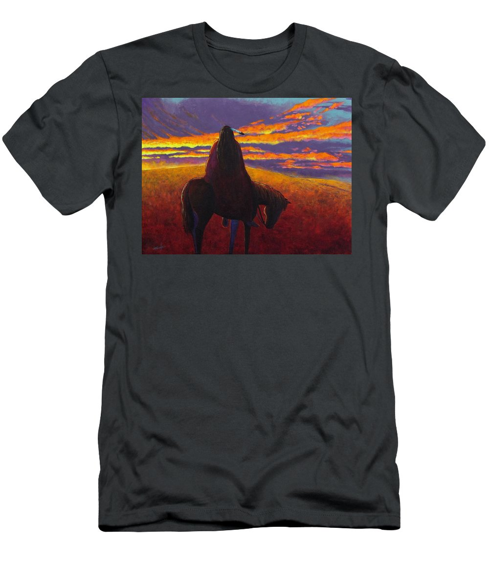 Native American Indian Men's T-Shirt (Athletic Fit) featuring the painting Watching The Magic by Joe Triano