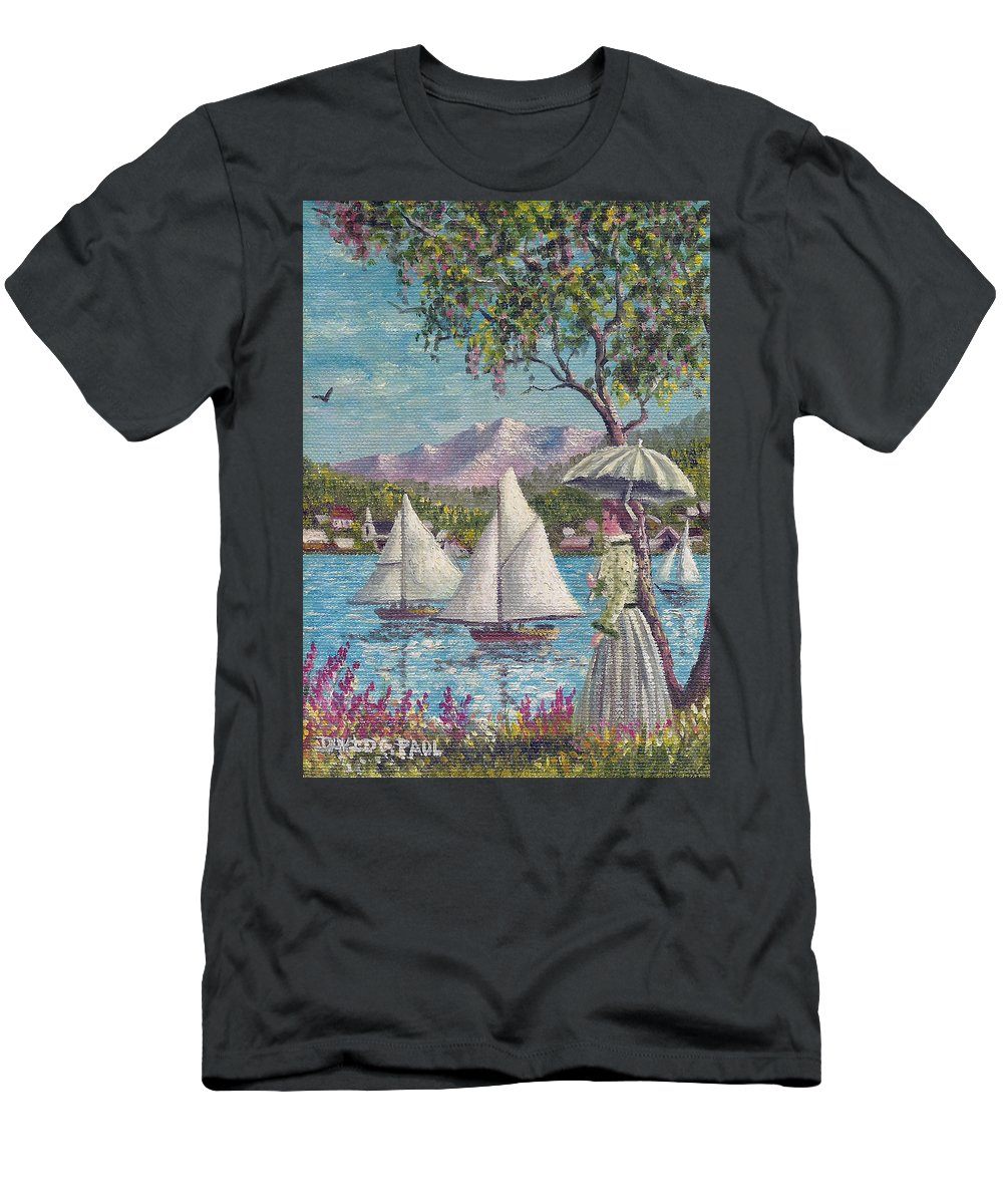 Sails T-Shirt featuring the painting Watching The Sails by David G Paul