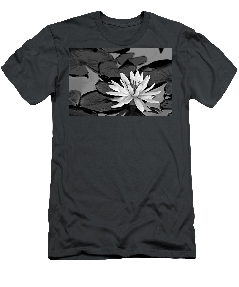 Water Lily Men's T-Shirt (Athletic Fit) featuring the photograph Water Lily Black And White by Phyllis Denton