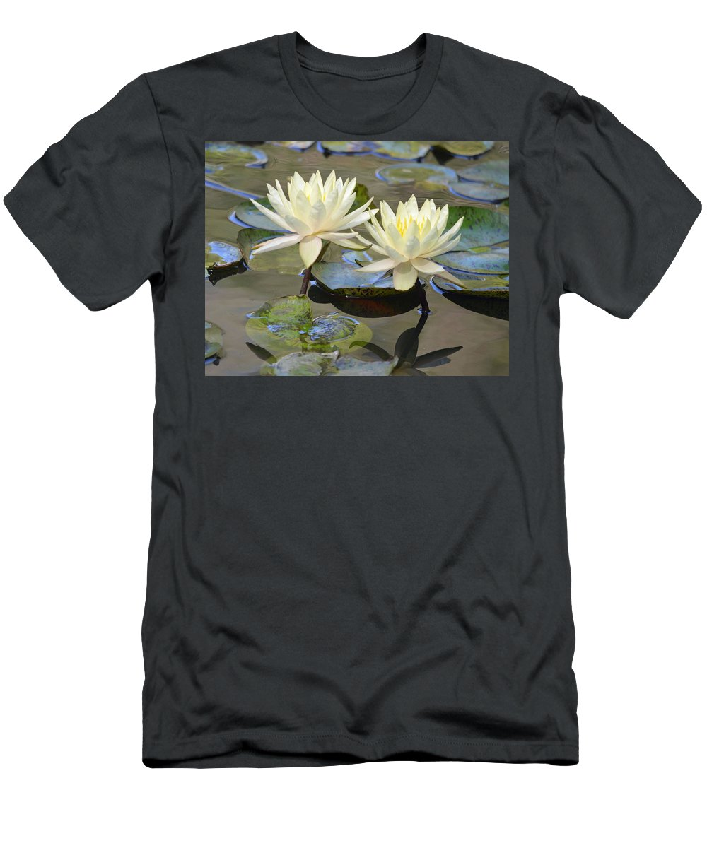 Lily Men's T-Shirt (Athletic Fit) featuring the photograph Water Lily Pair by Richard Bryce and Family