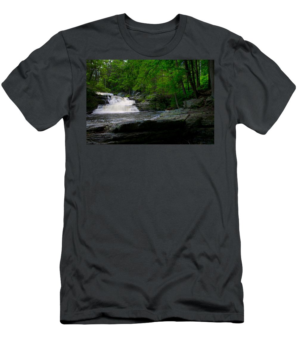 Waterfall Men's T-Shirt (Athletic Fit) featuring the photograph Waterfall At George W Childs Park by Bill Cannon