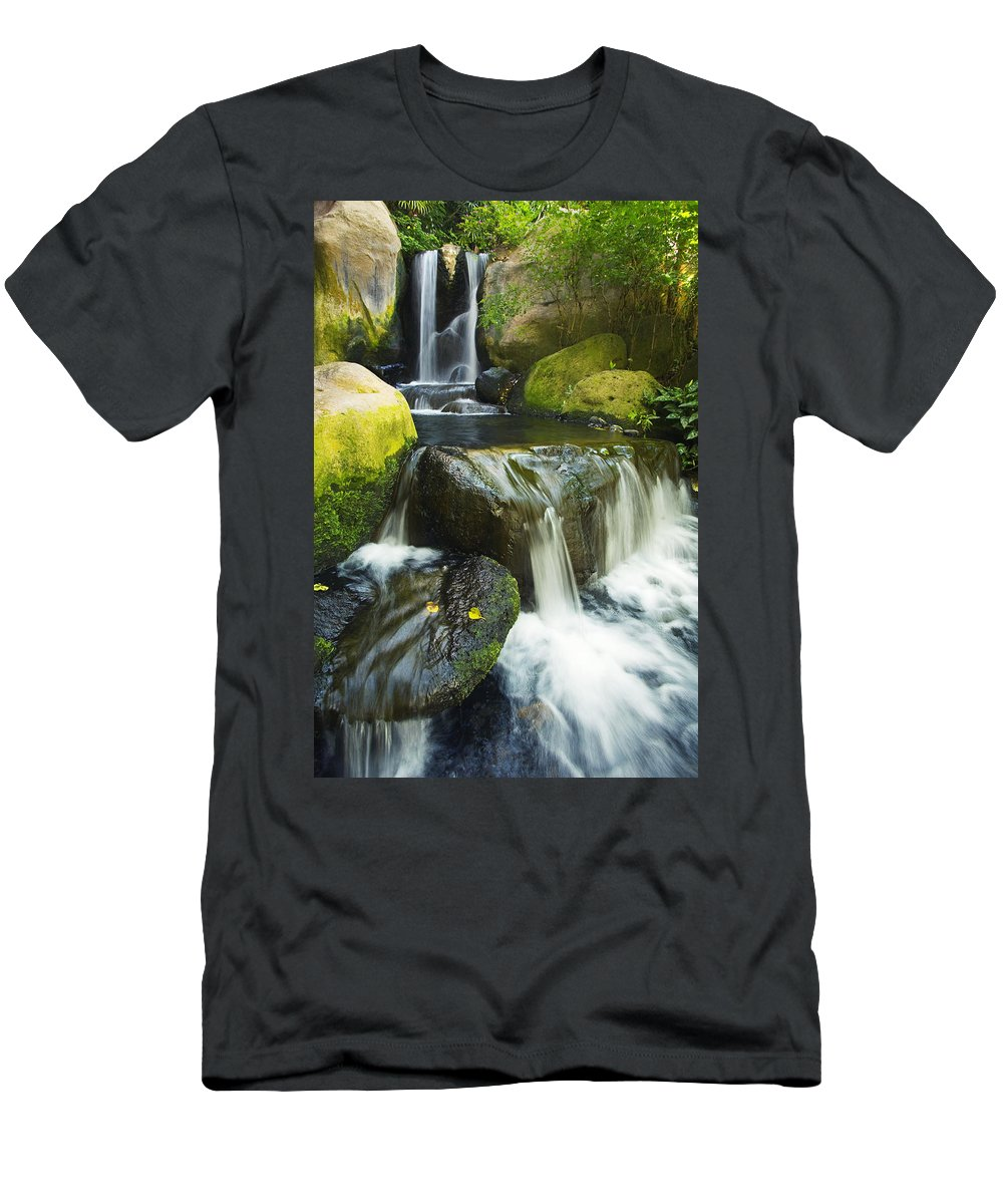 Cascade Men's T-Shirt (Athletic Fit) featuring the photograph Waterfall Stream by Ron Dahlquist - Printscapes