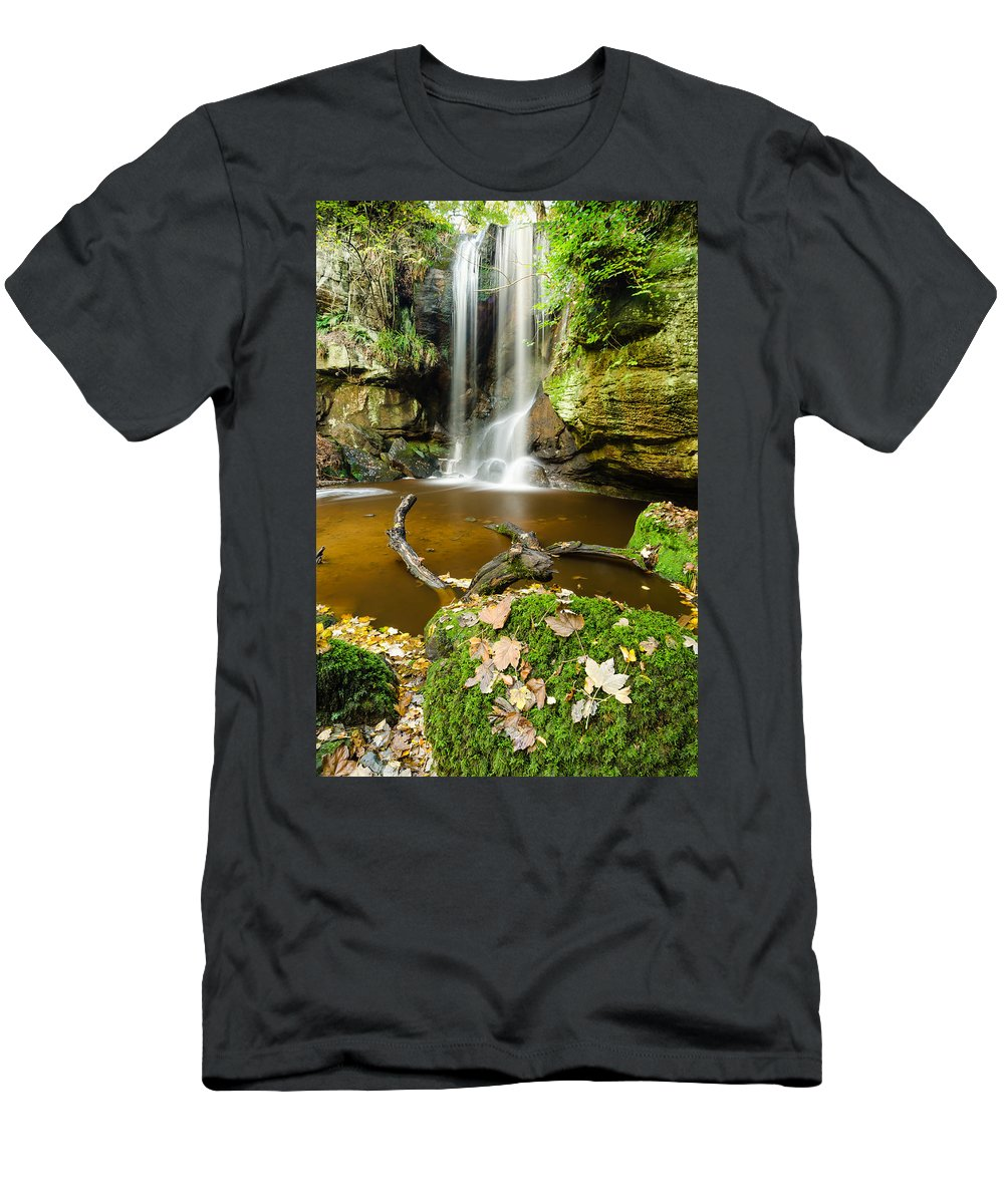 Northumberland Men's T-Shirt (Athletic Fit) featuring the photograph Waterfall With Autumn Leaves by David Head