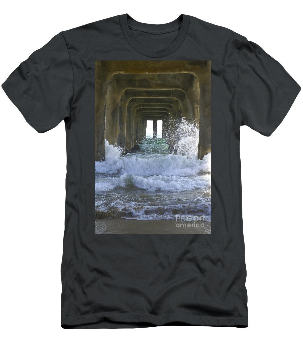 Beam Men's T-Shirt (Athletic Fit) featuring the photograph Waves Under The Pier Portrait by SAJE Photography