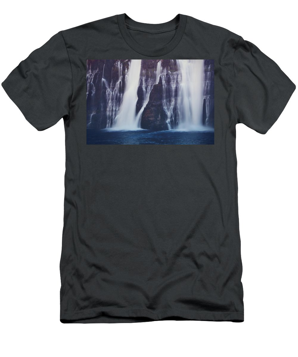 Burney Falls State Park Men's T-Shirt (Athletic Fit) featuring the photograph We All Fall Down Sometimes by Laurie Search