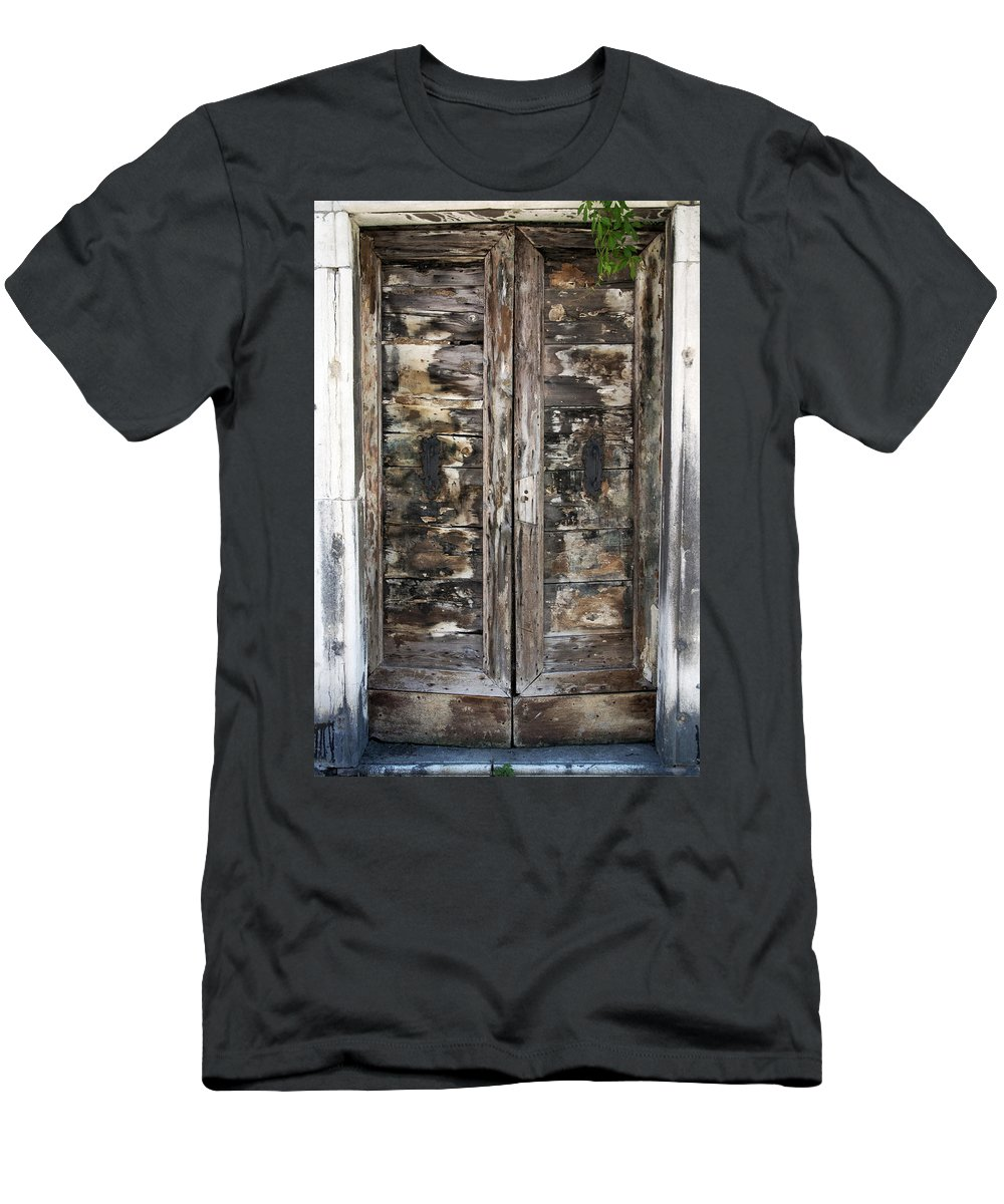 Vertical Men's T-Shirt (Athletic Fit) featuring the photograph Weathered Wood Door Venice Italy by Sally Rockefeller