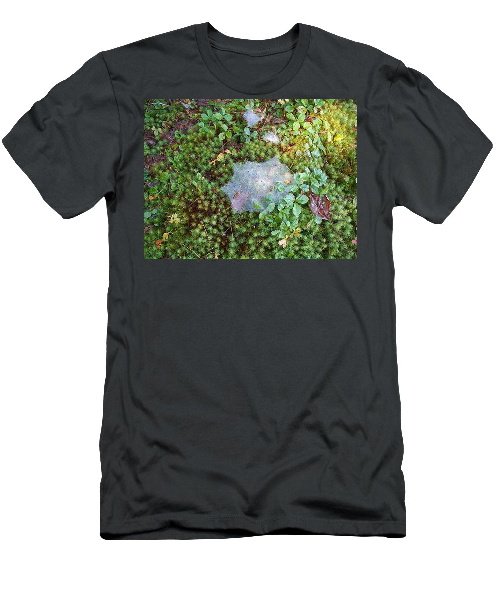 Nature Men's T-Shirt (Athletic Fit) featuring the photograph Web In Moss by Lisa Wormell