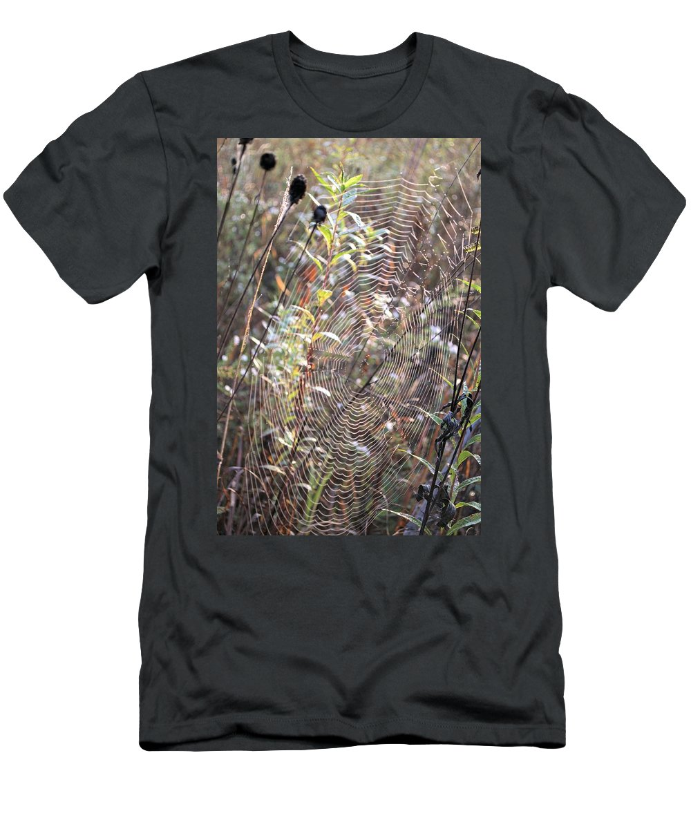 Abstract Men's T-Shirt (Athletic Fit) featuring the photograph Web We Weave by Bonfire Photography