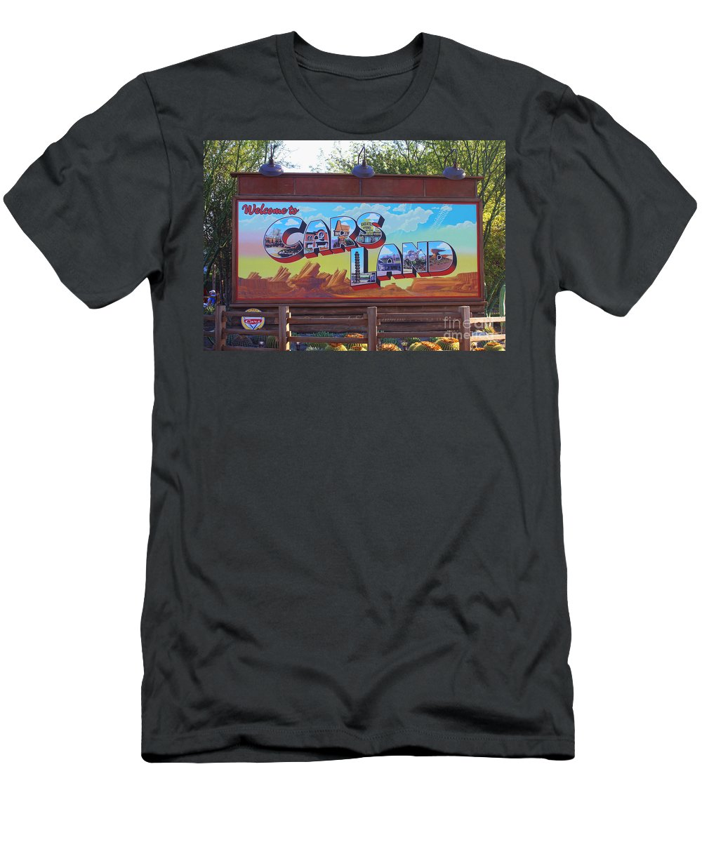 Disney California Adventure Men's T-Shirt (Athletic Fit) featuring the photograph Welcome To Cars Land by Tommy Anderson