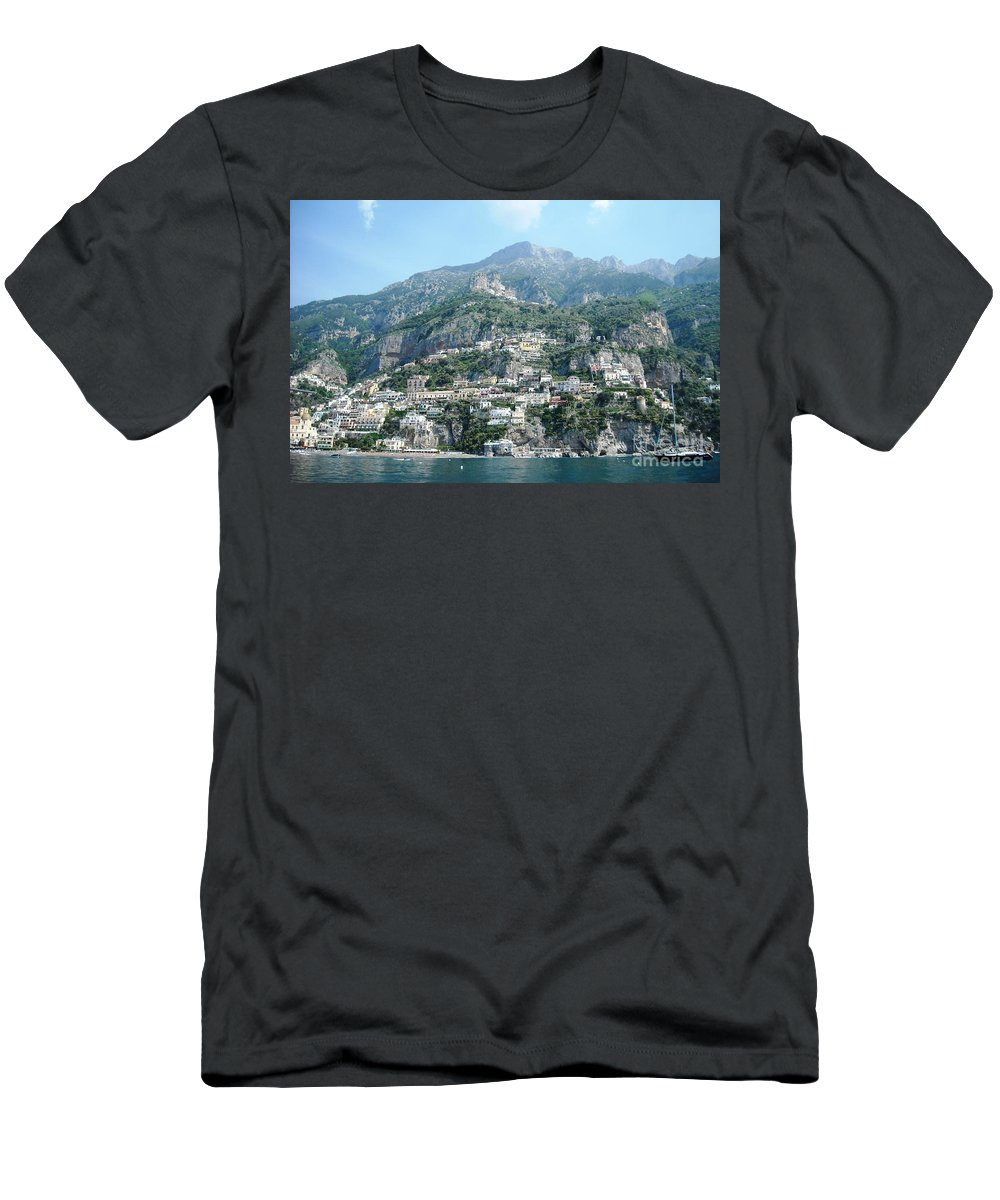 Positano Men's T-Shirt (Athletic Fit) featuring the photograph Welcoming Positano by Lisa Kilby