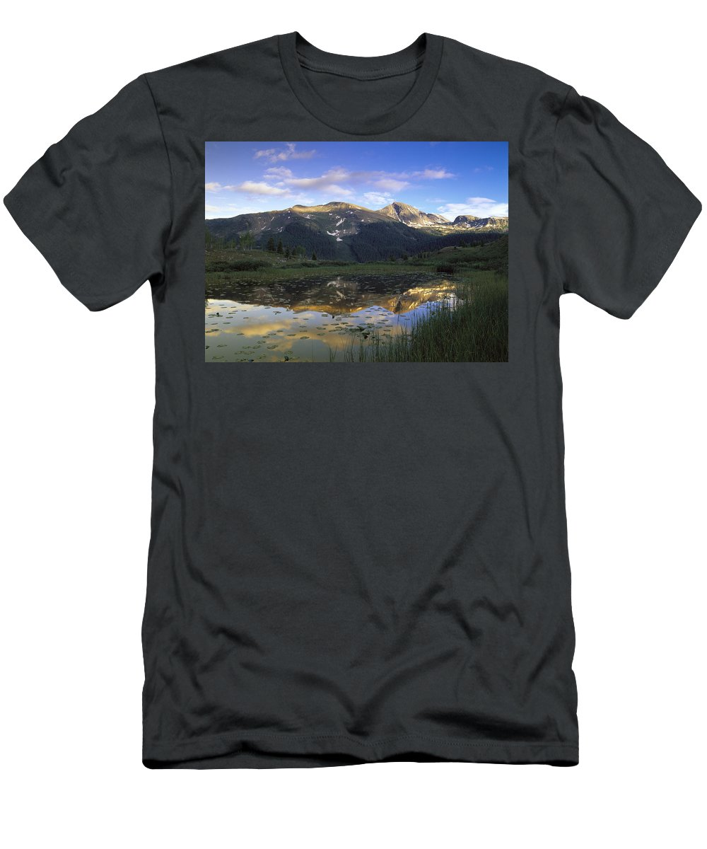 Feb0514 Men's T-Shirt (Athletic Fit) featuring the photograph West Needle Mountains Reflected In Pond by Tim Fitzharris