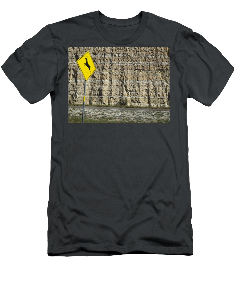 Interstate_10 Men's T-Shirt (Athletic Fit) featuring the photograph West Texas Interstate 10 At 80 Mph - 2 by Carl Deaville