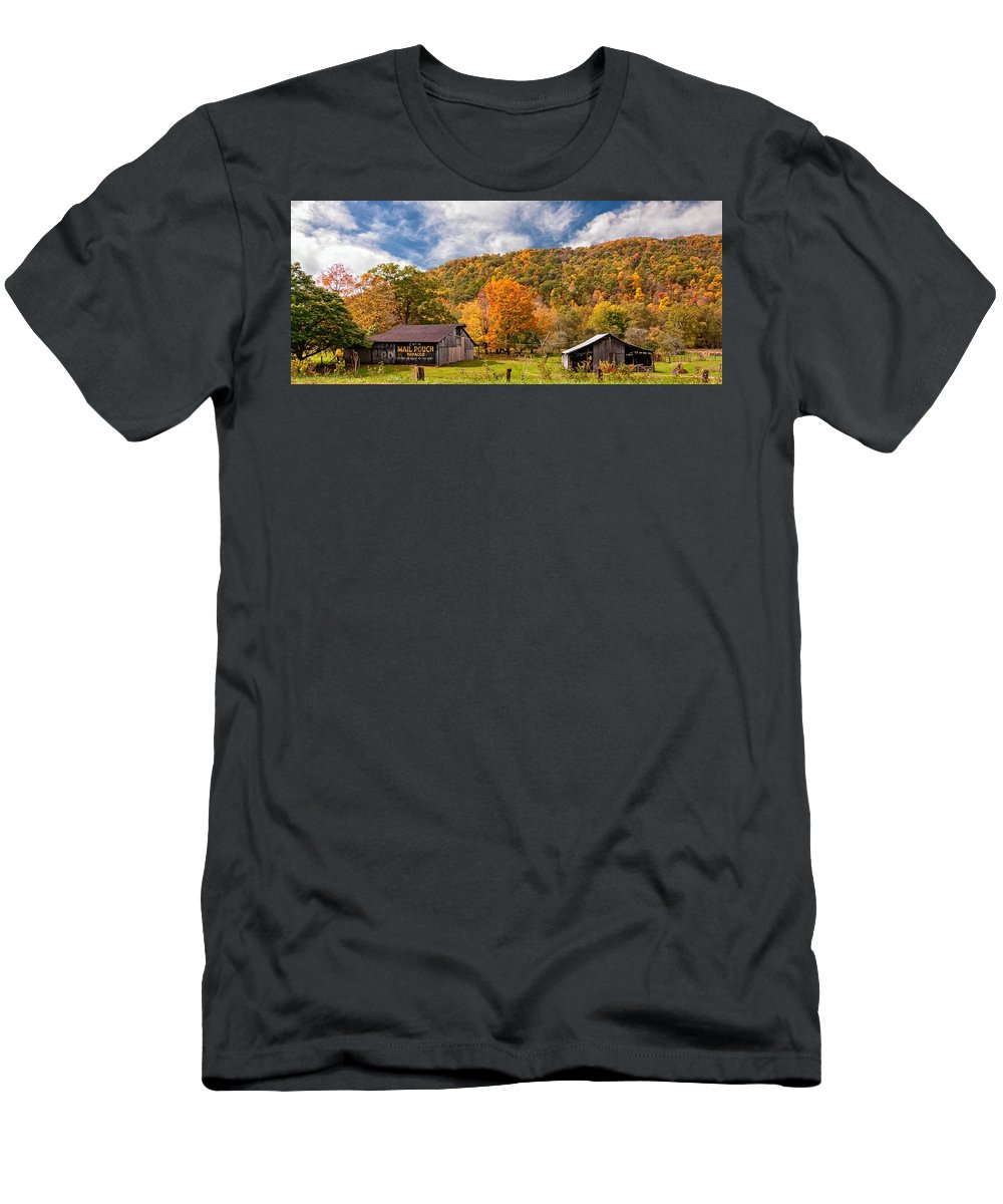 West Virginia Men's T-Shirt (Athletic Fit) featuring the photograph West Virginia Barns by Steve Harrington