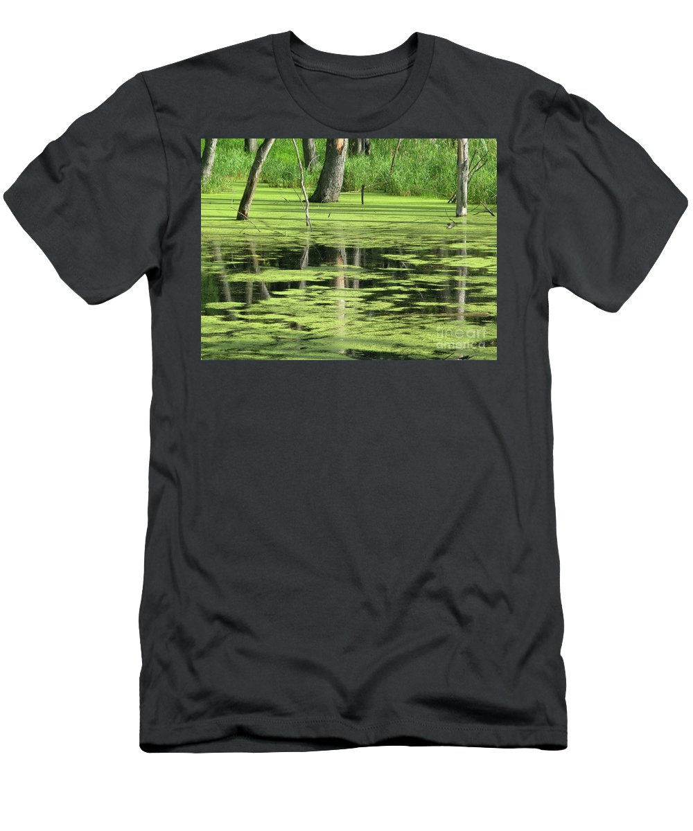 Landscape Men's T-Shirt (Athletic Fit) featuring the photograph Wetland Reflection by Ann Horn