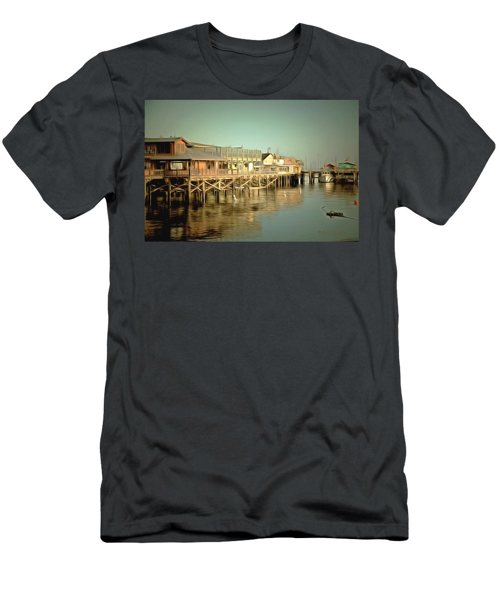 Barbara Snyder Men's T-Shirt (Athletic Fit) featuring the painting Fishermans Wharf Monterey California by Barbara Snyder