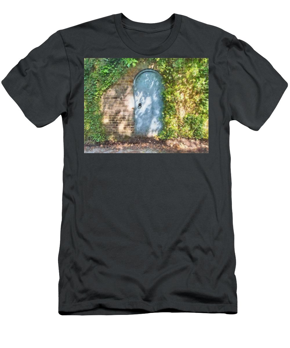 Arch Men's T-Shirt (Athletic Fit) featuring the mixed media What's Behind The Gate? 2 by Roy Pedersen