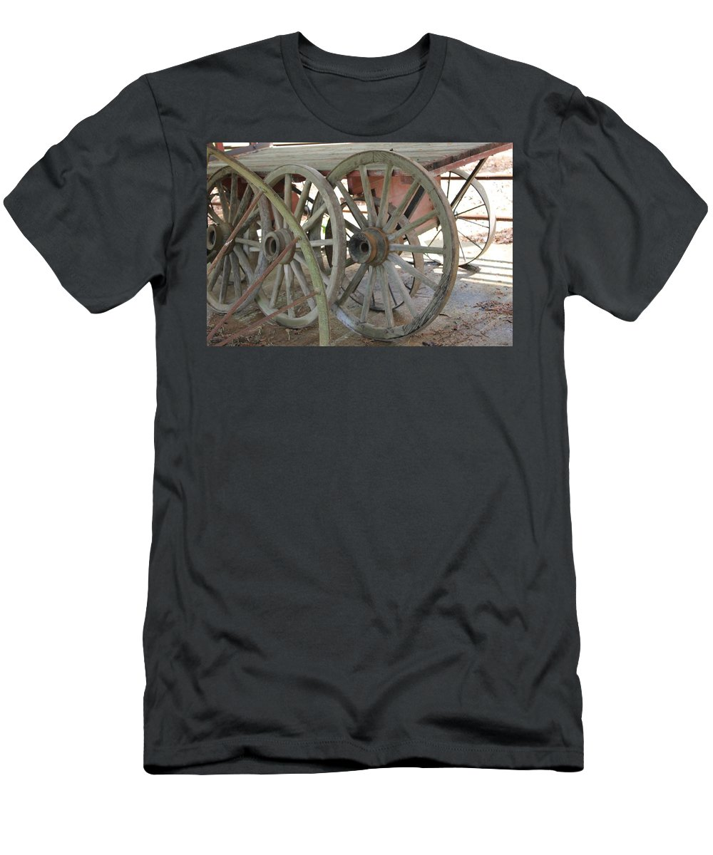 Wheels Men's T-Shirt (Athletic Fit) featuring the photograph Wheels by Mary Koval