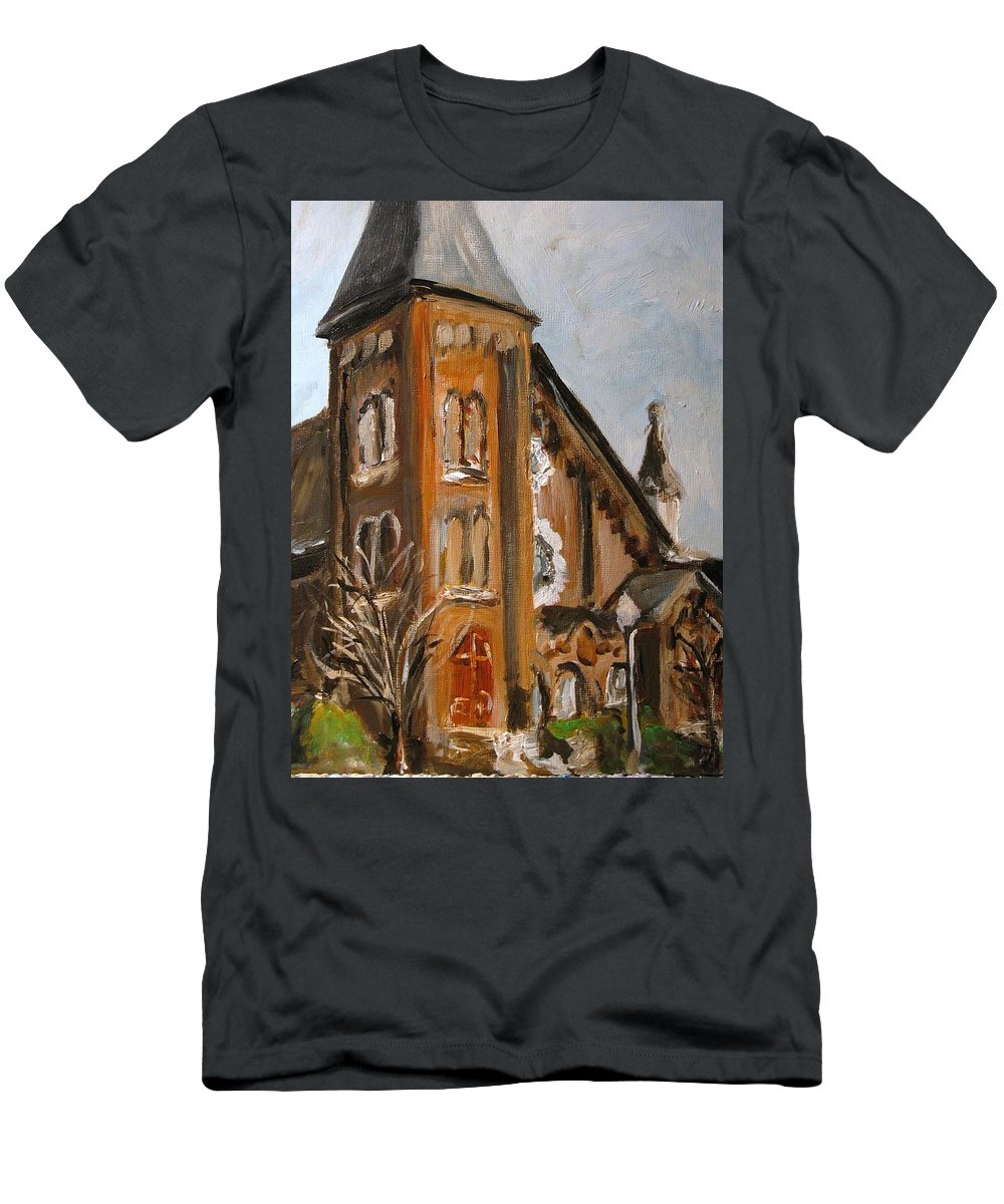 Church Men's T-Shirt (Athletic Fit) featuring the painting When I Was A Stranger You Welcomed Me by Susan Elizabeth Jones