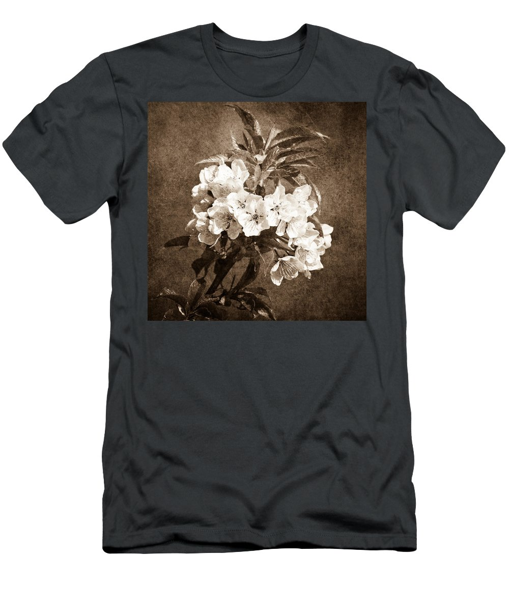 Flower Men's T-Shirt (Athletic Fit) featuring the photograph White Blossoms - Sepia by Alexander Senin