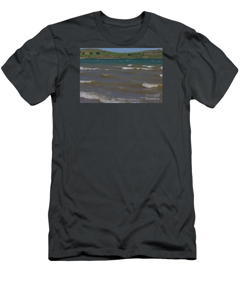 Lake Men's T-Shirt (Athletic Fit) featuring the photograph White Caps On Wilson Lake by Robert D Brozek